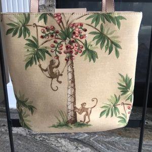Med purse tote cloth monkey palm tree pattern